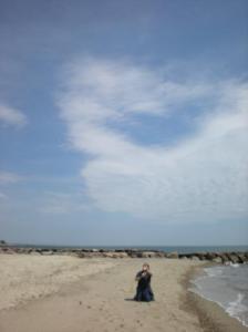Ellison flies a kite